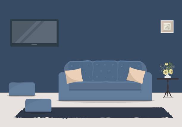 wohnzimmer in eine blaue farbe mit einem sofa und ein heimkino - wohnzimmer gemütlich stock-grafiken, -clipart, -cartoons und -symbole