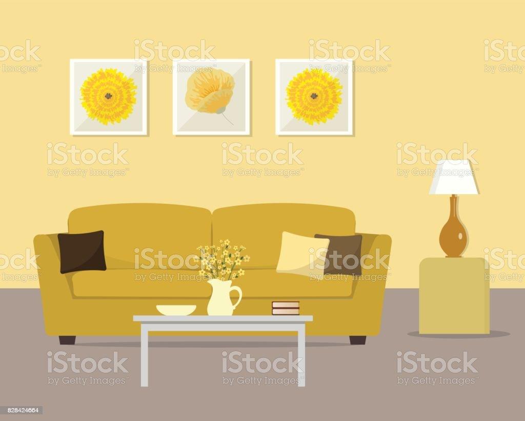 Wohnzimmer In Eine Gelbe Farben Lizenzfreies Wohnzimmer In Eine Gelbe Farben  Stock Vektor Art Und Mehr