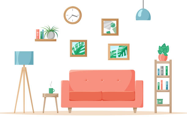 ilustrações de stock, clip art, desenhos animados e ícones de living room in flat style, home illustration with sofa, lamp, house plants in pots, books on shelves, vector - living room background