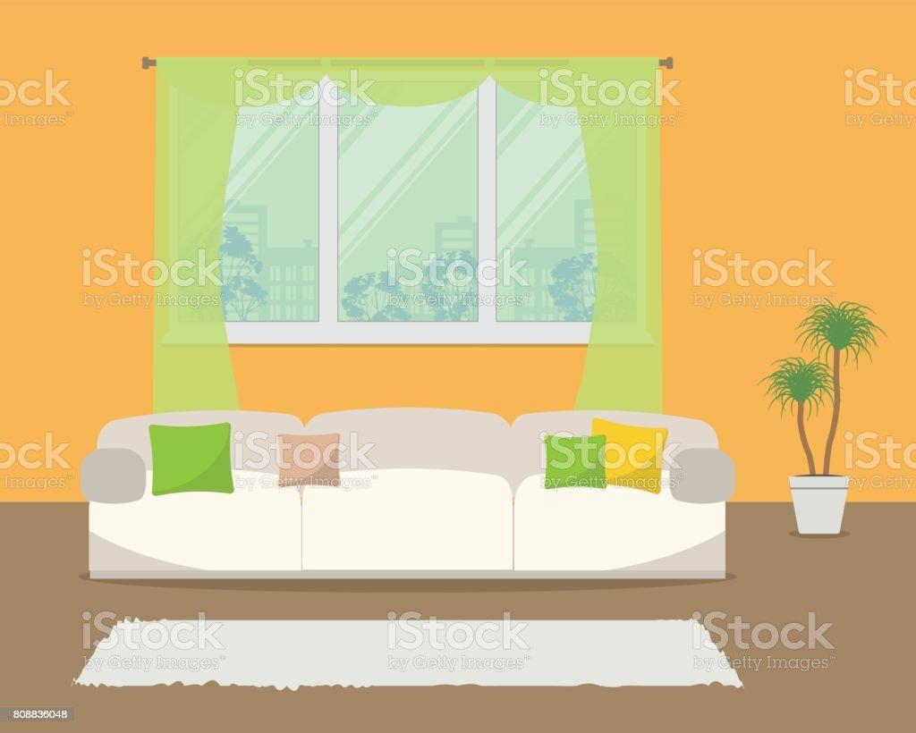 Wohnzimmer In Der Farbe Orange Stock Vektor Art Und Mehr Bilder Von