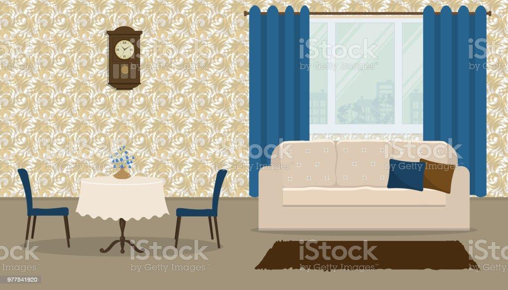 Wohnzimmer Im Retro Stil Mit Einem Weißen Sofa, Ein Runder Tisch Und Blaue  Vorhänge