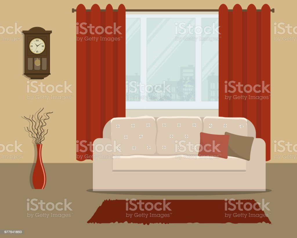 Living Room In Retro Style With A White Sofa And Red Curtains Stock Illustration Download Image Now Istock