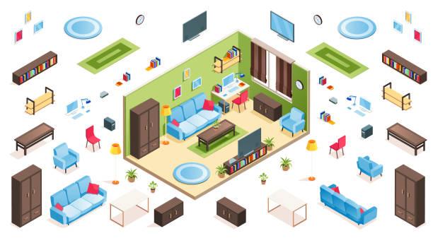 アパートコンストラクターのためのリビングルームのインテリアとアイソメアイテム。孤立したソファやソファ、椅子とテーブル、アームチェアと花瓶、植木鉢やカーペット、額縁、プラズ� - アイソメトリック点のイラスト素材/クリップアート素材/マンガ素材/アイコン素材
