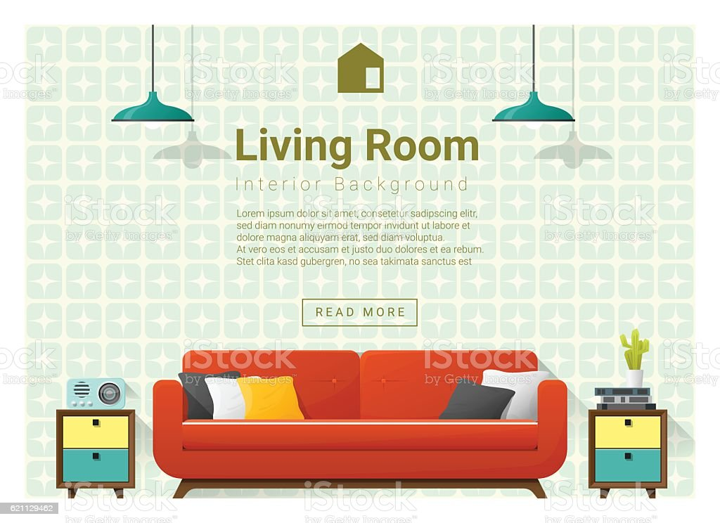 Living room Interior background 4 vector art illustration