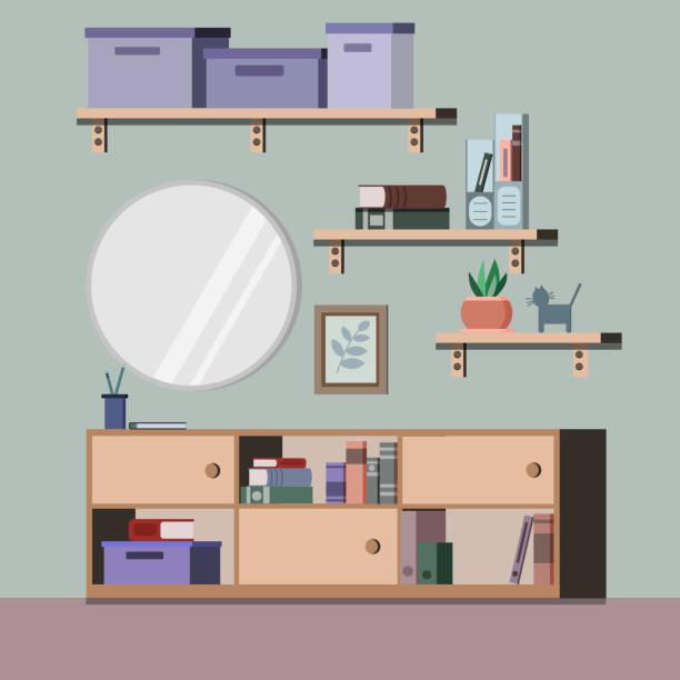 wohnzimmer innenhintergrund mit rack, spiegel, pflanze, bücher, ordner, bild im flachen stil. - bleistifthalter stock-grafiken, -clipart, -cartoons und -symbole