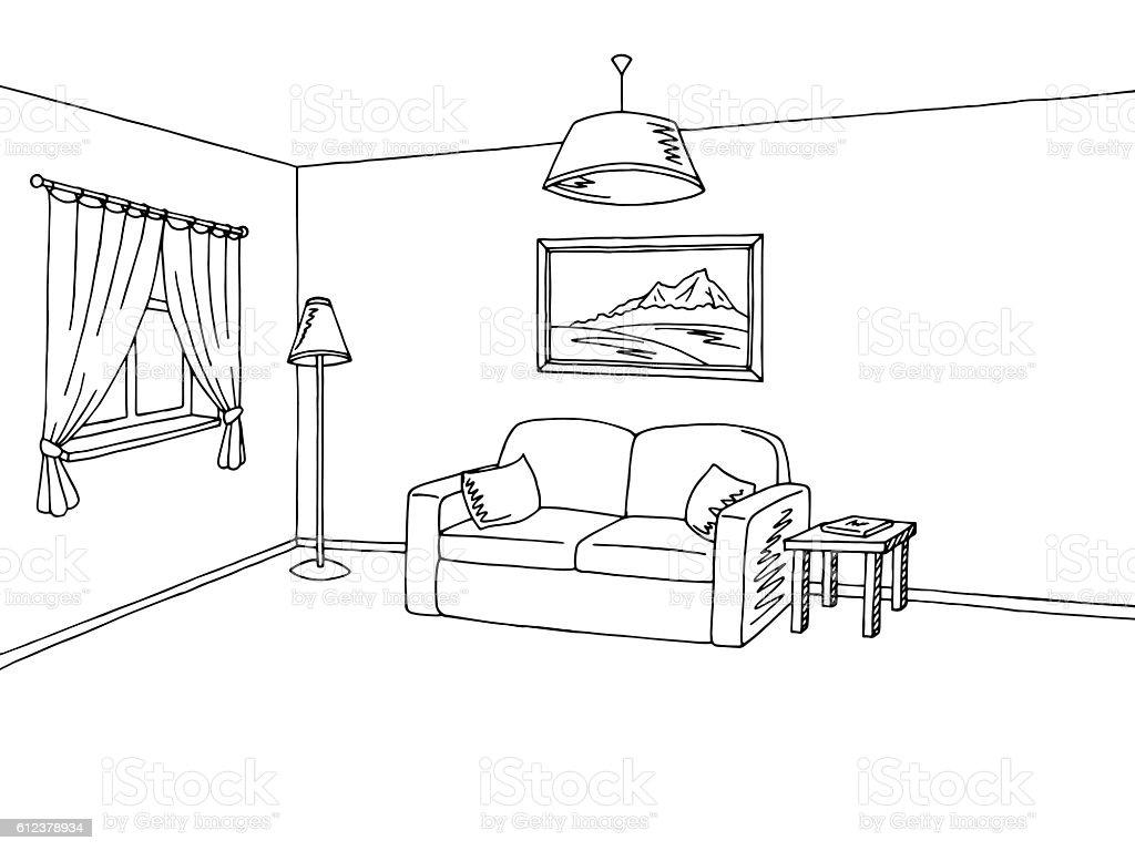 living room interior black white sketch illustration vector stock