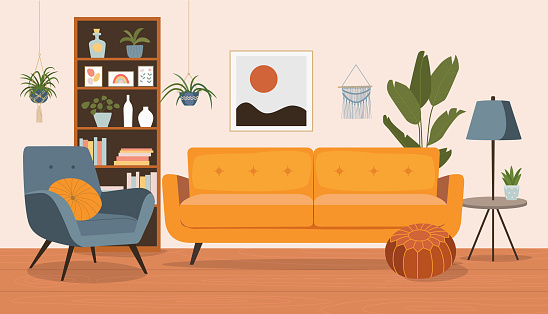 Living room interior. Comfortable sofa,  bookcase, chair and house plants. Vector flat style cartoon illustration.