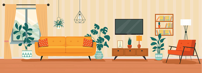 Living room interior. Comfortable sofa, TV,  window, chair and house plants. Vector flat style illustration