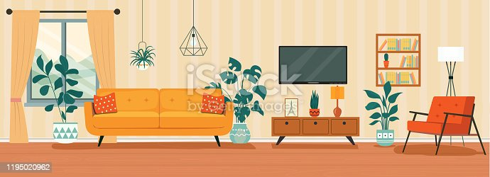 istock Living room interior. Comfortable sofa, TV,  window, chair and house plants. Vector flat style illustration 1195020962