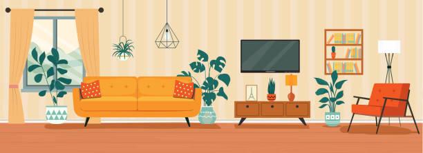 客廳內部。舒適的椅子、電視、窗戶、椅子和室內植物。向量平面樣式插圖 - 室內 幅插畫檔、美工圖案、卡通及圖標