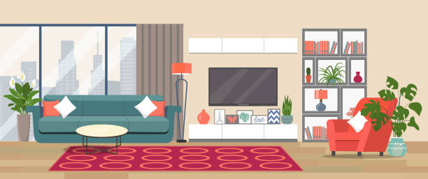 ilustrações de stock, clip art, desenhos animados e ícones de living room interior. comfortable sofa, tv,  window, chair and house plants. vector flat illustration - sala