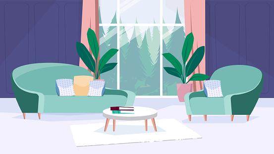 Living room interior concept flat cartoon design