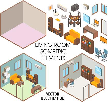 Living room interior constructor, vector flat isometric illustration