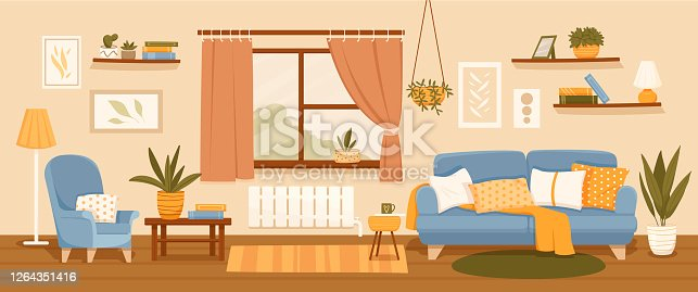 istock Living room interior decor with seating 1264351416