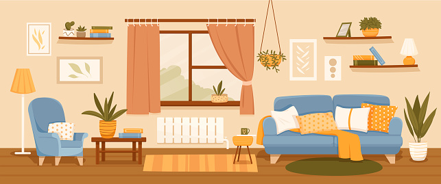 Living room interior decor with seating