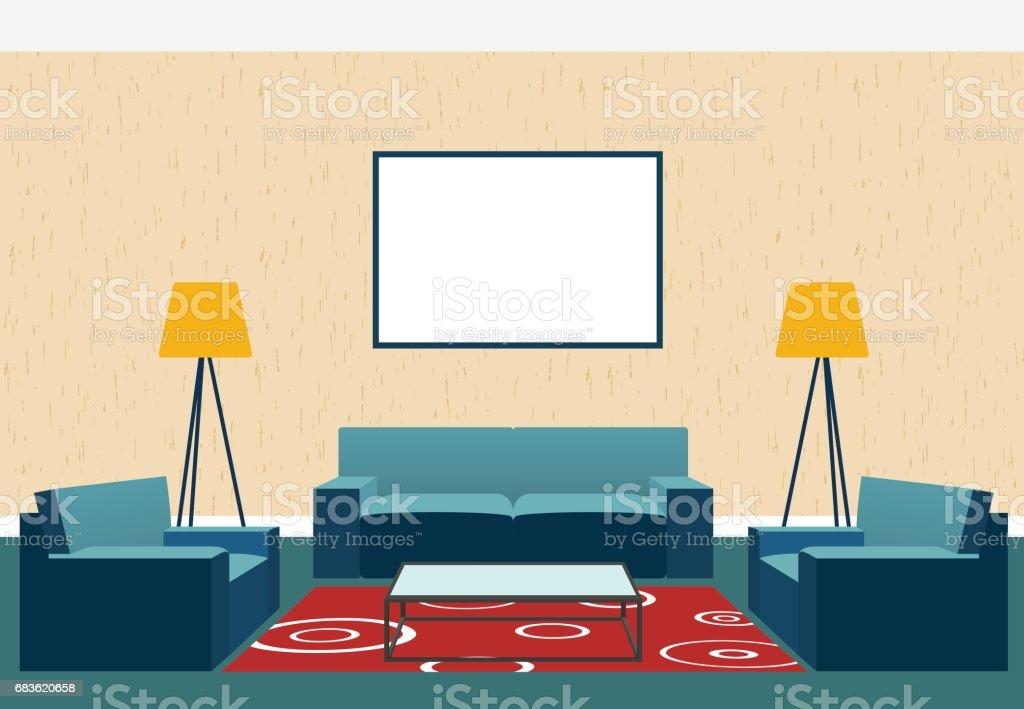 Ilustración de Diseño De Interiores De Salón En Estilo Plano Como ...