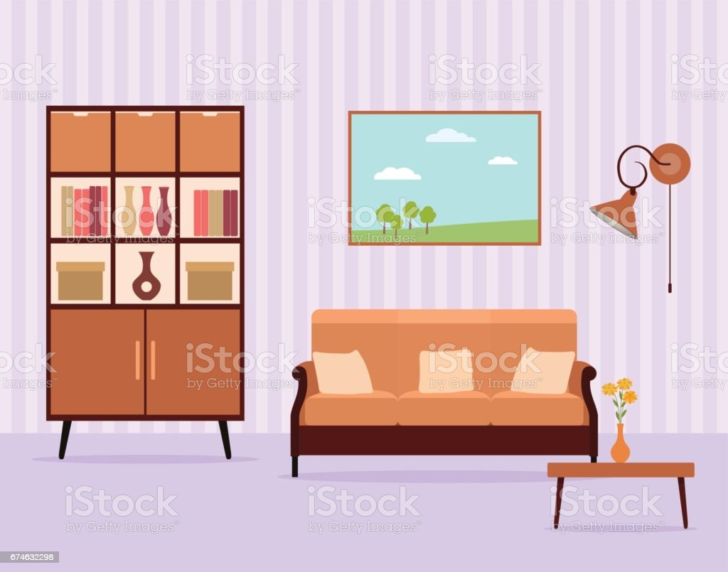 Living Room Interior Design In Flat Style Including Furniture, Cabinet,  Sofa, Table,