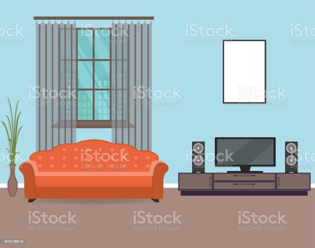 Ilustración de Sala Diseño De Interiores En Estilo Plano Incluyendo ...