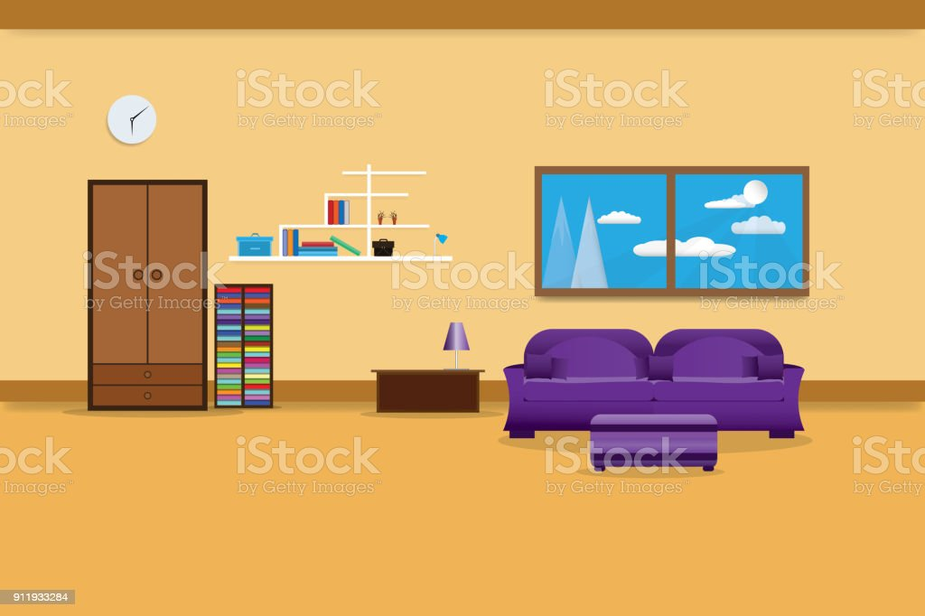 Living Room Interior Design Relax With Sofa Purple And Bookshelf ...