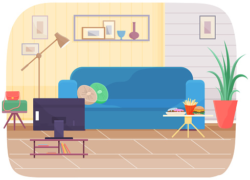 Living room interior design with blue sofa, television set, pictures on wall and potted plant