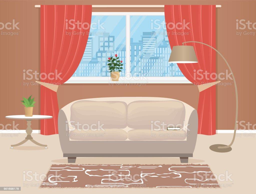 Wohnzimmer Interior Design Mit Möbeln Wohnraum Mit Sofa Stehleuchte ...