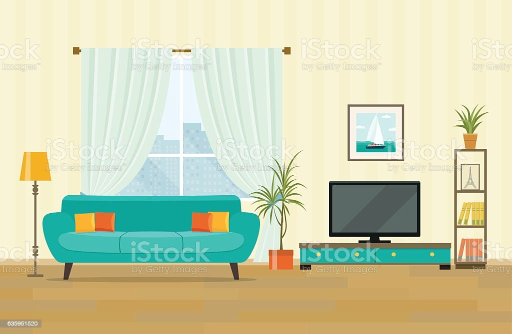 Living room interior design with furniture. Flat style vector illustration - Illustration vectorielle