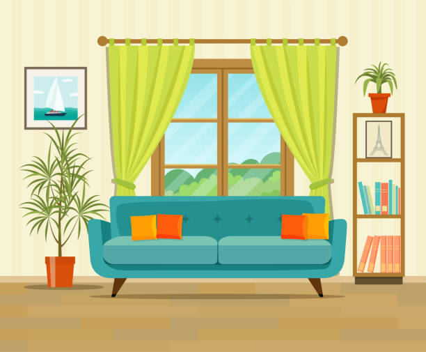 ilustrações de stock, clip art, desenhos animados e ícones de living room interior design with furniture: sofa, bookcase, picture. flat style vector illustration - sala