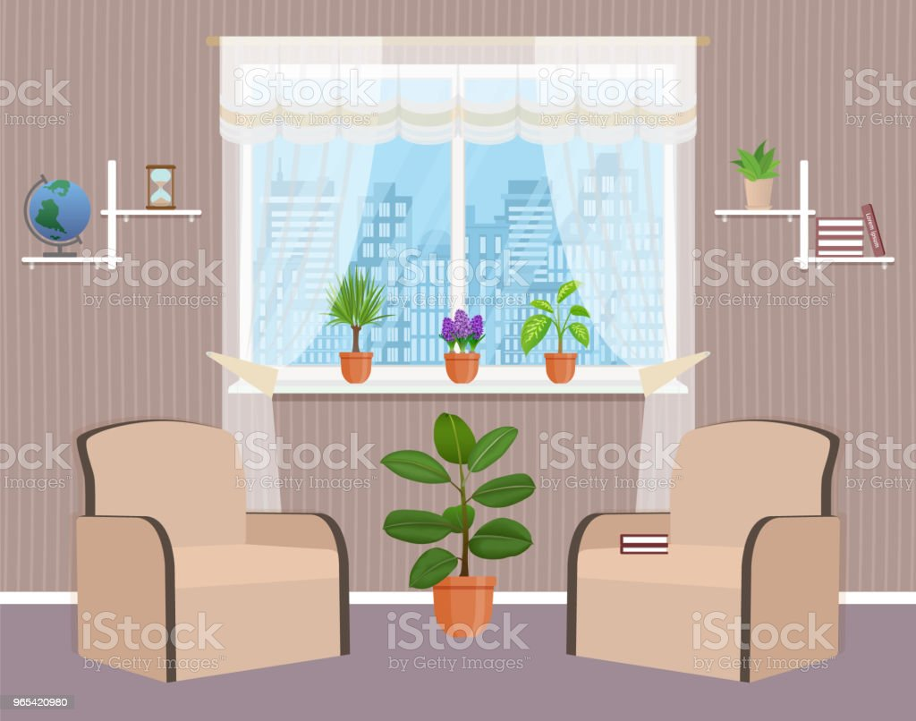 Living room interior design with two armchairs, houseplant and window. Domestic room with sfurniture. royalty-free living room interior design with two armchairs houseplant and window domestic room with sfurniture stock vector art & more images of apartment