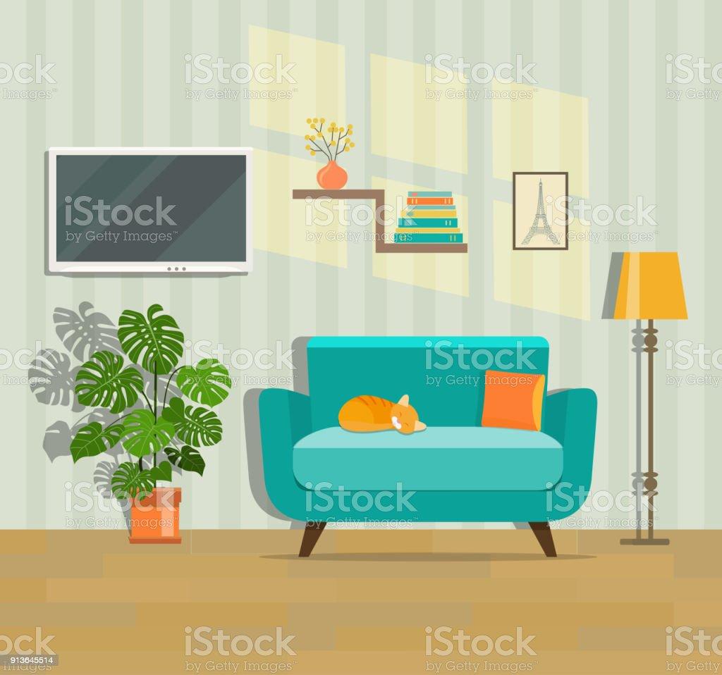 Living Room Interior Flat Vector Illustration Stock Vector ...