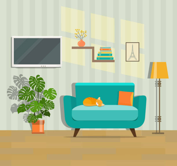 stockillustraties, clipart, cartoons en iconen met woonkamer interieur. platte vectorillustratie - sleeping illustration