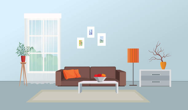Living room interior. Furniture design. Home interior with sofa, table, window vector art illustration