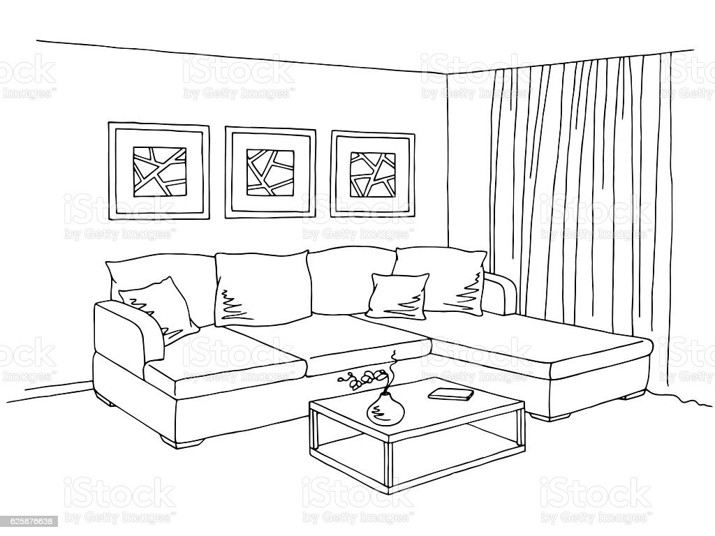 Living room interior graphic black white sketch for Online drawing room
