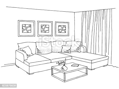 Living room interior graphic black white sketch for Drawing room pictures