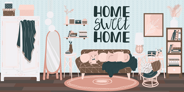 Living room interior, hand drawn scandinavian style. Background with handwritten slogan home sweet home. Home interior with sofa, shelf, wicker chair and home decor in flat cartoon style.