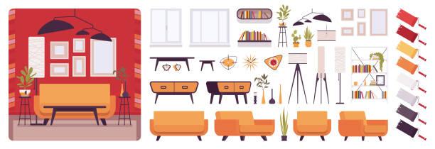 ilustrações, clipart, desenhos animados e ícones de kit de criação de interiores, casa ou escritório sala de estar - landscape creation kit