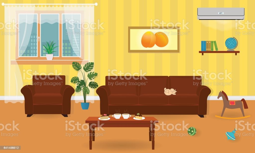 Living Room Interior In Bright Colors Including A Sofa Armchair ...