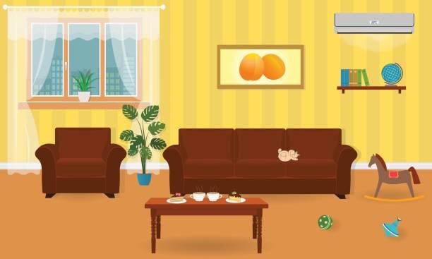 stockillustraties, clipart, cartoons en iconen met woonkamer interieur in heldere kleuren met inbegrip van een bank, fauteuil, koffietafel, air conditioning, speelgoed. - photography curtains