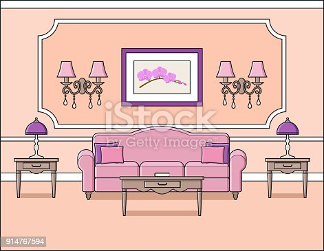 Living Room Interior In Classic Style Vector Illustration Stock ...