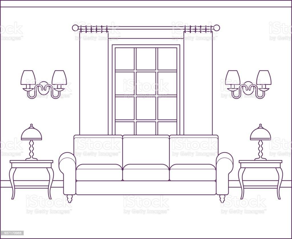 Wohnzimmer Innenraum Im Flat Design Linearer Vektorillustration ...