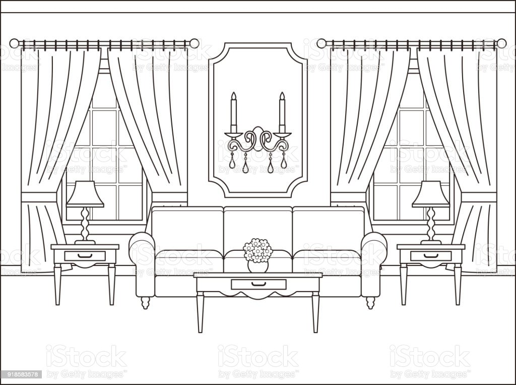 Living Room Interior In Flat Design. Outline Vector Illustration.  Royalty Free Living Room