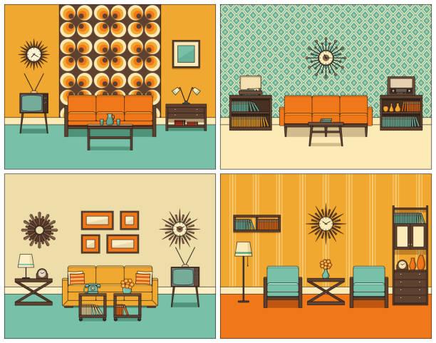 ilustrações de stock, clip art, desenhos animados e ícones de living room interior in line art. retro linear vector illustration. - living room background