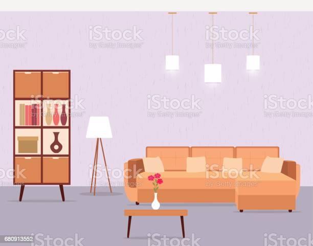 Woonkamer Interieur Met Inbegrip Sofa Tafel Kast En Vloerlamp Stockvectorkunst En Meer Beelden Van Apparatuur Istock