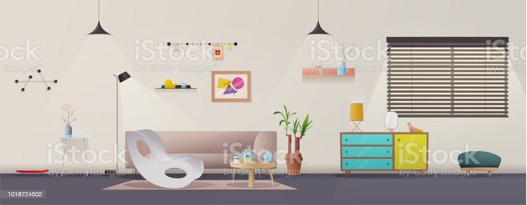 Wohnzimmer Innenraum Moderne Wohnung Skandinavisch Oder Loft Design Cartoon  Vektor Illustration Lizenzfreies