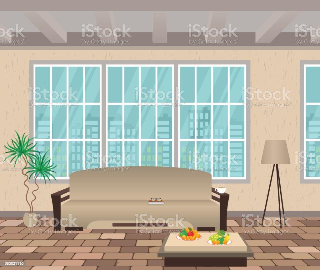 Wohnzimmer Innenraum Modernes Design Der Wohnraum Mit Stadtbild Vor ...