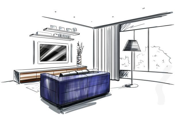Wohnzimmer-Innenskizze. – Vektorgrafik