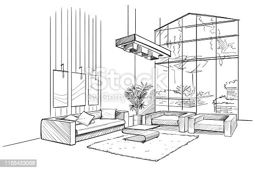 istock Living room interior sketch. 1155433058