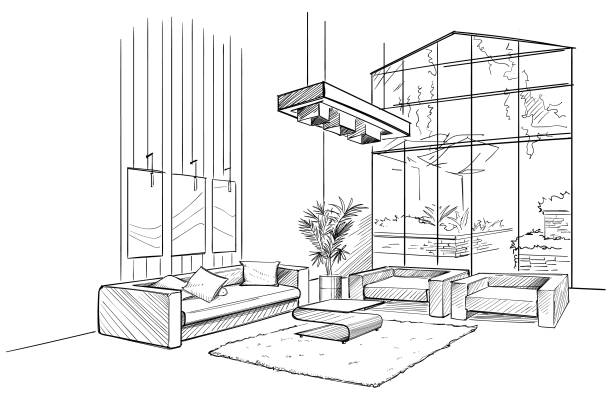Living room interior sketch. Living room interior sketch with coffee table. architecture illustrations stock illustrations