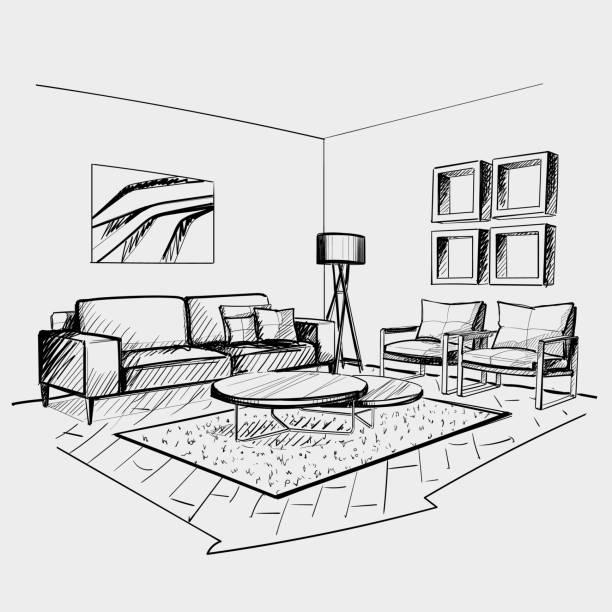 Wohnzimmer Innenskizze. – Vektorgrafik
