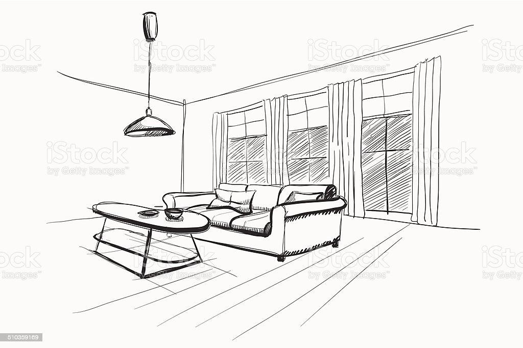 for Living room interior sketch