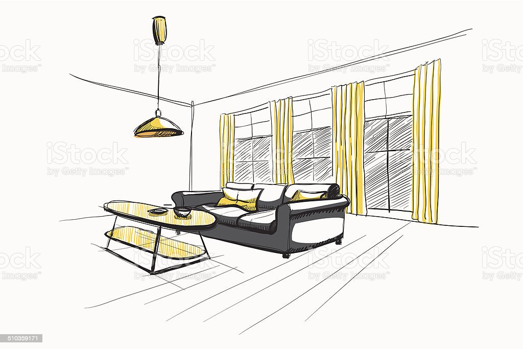 Wohnzimmer interior skizze stock vektor art und mehr for Sofa zeichnung